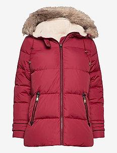 Hooded Down Coat - forede jakker - chili