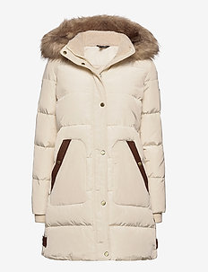 Hooded Down Coat - dunkåper - moda cream