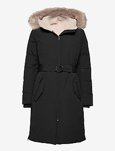Belted Hooded Down Coat - parkacoats - black