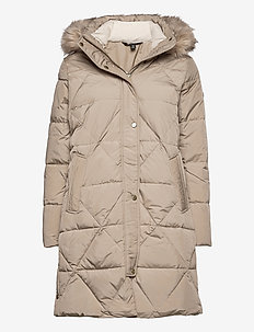 Quilted Hooded Down Coat - dunkåper - almond