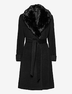 Wool-Blend Wrap Coat - wool coats - black