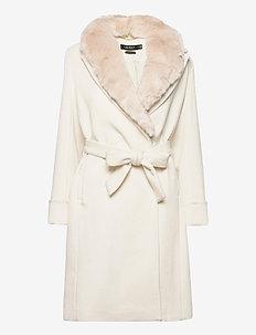 Wool-Blend Wrap Coat - wool coats - cream