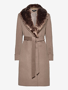 Wool-Blend Wrap Coat - manteaux en laine - melange taupe