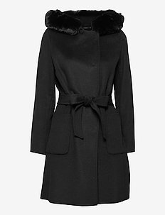 Faux Fur-Trim Wool-Blend Coat - black