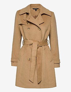 Wool-Blend Trench Coat - trenchcoats - camel