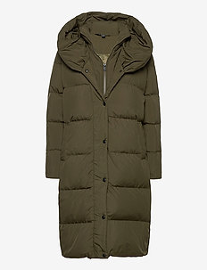 Oversize-Collar Down Coat - padded coats - loden