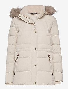 Interior-Drawstring Down Coat - fôrede jakker - moda cream