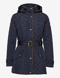 Belted Quilted Jacket - pikowana - dk navy