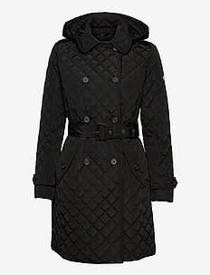 Insulated Quilted Trench Coat - trenchcoats - black