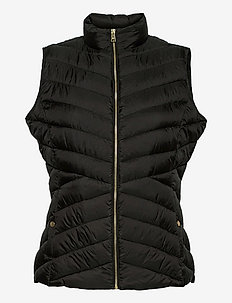Insulated Quilted Vest - puffer vests - black