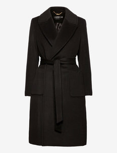 Wool-Blend Wrap Coat - wełniane płaszcze - black