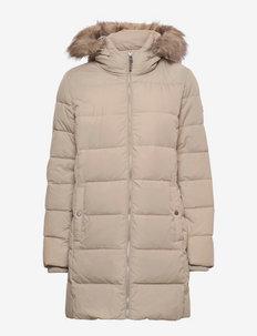 Faux Fur-Trim Down Coat - wyściełane płaszcze - new birch