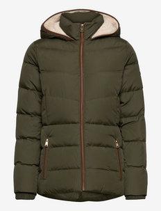 Faux-Leather-Trim Down Coat - wyściełane kurtki - litchfield loden