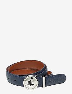 Leather Belt - NAVY/TAN