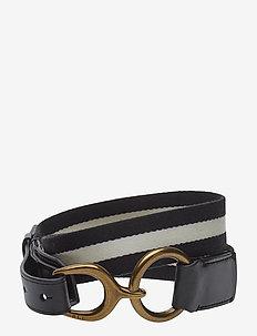 Barrington Striped Belt - BLACK - BLACK/WHI
