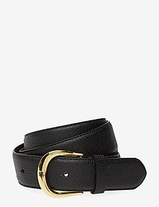 Pebbled Leather Belt - bælter - black
