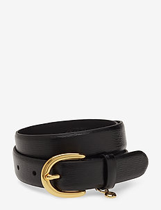 Charm Saffiano Leather Belt - black