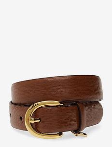 Charm Saffiano Leather Belt - LAUREN TAN