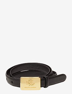 Plaque-Buckle Leather Belt - vyöt - black