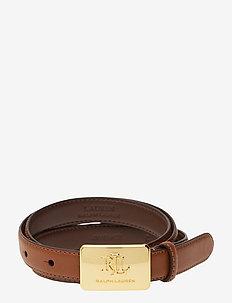 Plaque-Buckle Leather Belt - FIELD BROWN