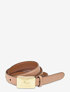 Plaque-Buckle Leather Belt - belter - nude