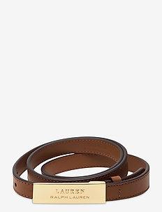 Logo Plaque Leather Belt - belter - lauren tan
