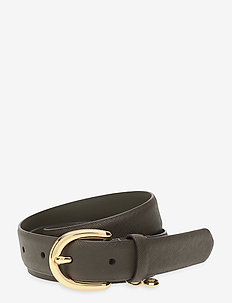 Charm Saffiano Leather Belt - belter - deep olive