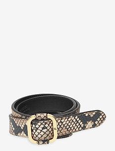 Leather Slide-Buckle Belt - bælter - nude