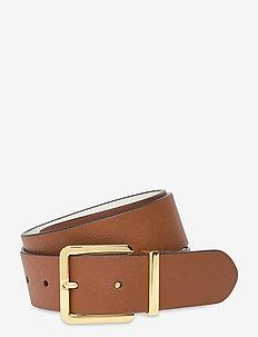 Reversible Saffiano Leather Belt - riemen - lauren tan/vanill