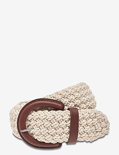 Woven Vachetta-Trim Belt - bælter - natural/lauren ta