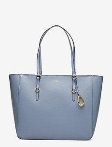 Saffiano Leather Tote - BLUE MIST