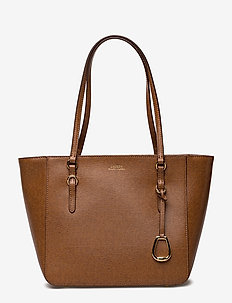 Saffiano Leather Medium Tote - LAUREN TAN