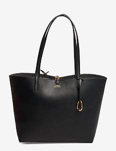 Reversible Faux Leather Tote - BLACK/PAINTED STR