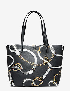 Reversible Faux Leather Tote - BLACK SIG BELTING