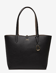 Reversible Faux Leather Tote - BLACK/TAUPE