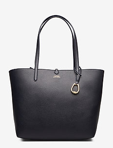 Reversible Faux Leather Tote - LAUREN NAVY/BARNE