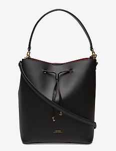 Leather Debby Drawstring Bag - BLACK/RED