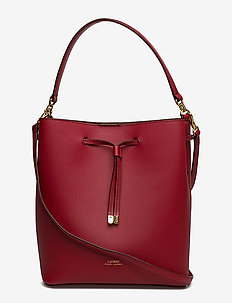 Leather Debby Drawstring Bag - RED/TRUFFLE