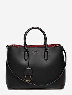 Leather Marcy Satchel - BLACK/RED
