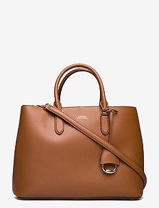 Leather Marcy Satchel - handväskor - lauren tan/monarc