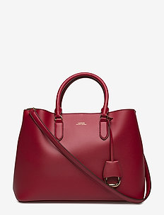 Leather Marcy Satchel - RED/TRUFFLE