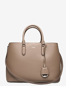 Leather Large Marcy Satchel - top handle - taupe / porcini