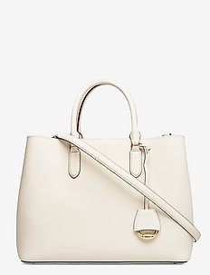 Leather Large Marcy Satchel - VANILLA/LAUREN TA