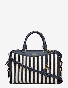 Saffiano Leather Tote - NAVY/IVORY STRIPE