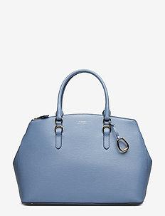 Leather Double-Zip Satchel - BLUE MIST