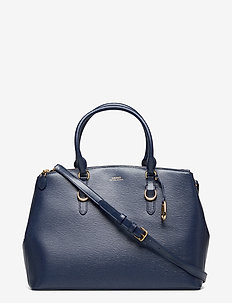 Leather Double-Zip Satchel - NAVY