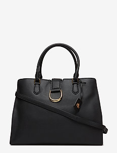 Large Pebbled Leather Satchel - BLACK