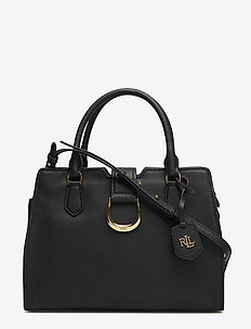 Medium Pebbled Leather Satchel - BLACK