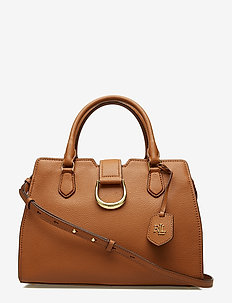 Medium Pebbled Leather Satchel - LAUREN TAN