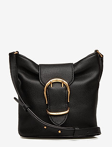 Pebbled Leather Bucket Bag - BLACK